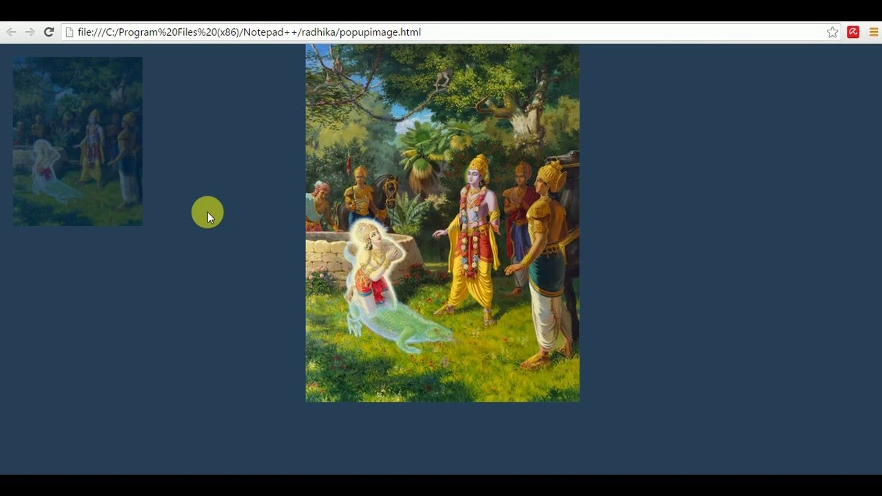 Pop up an  image on click using jquery and css