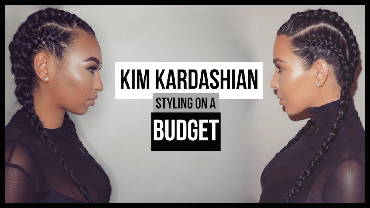 Kim Kardashian Inspired Cornrows / Dutch Braids + Makeup On A Budget | LLETITIA ONLINE