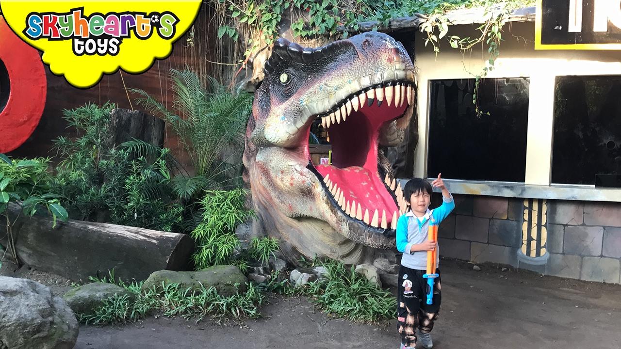 SCARED TODDLER in Dinosaur Theme Park - Pre-historic dinosaur toys for kids family playtime
