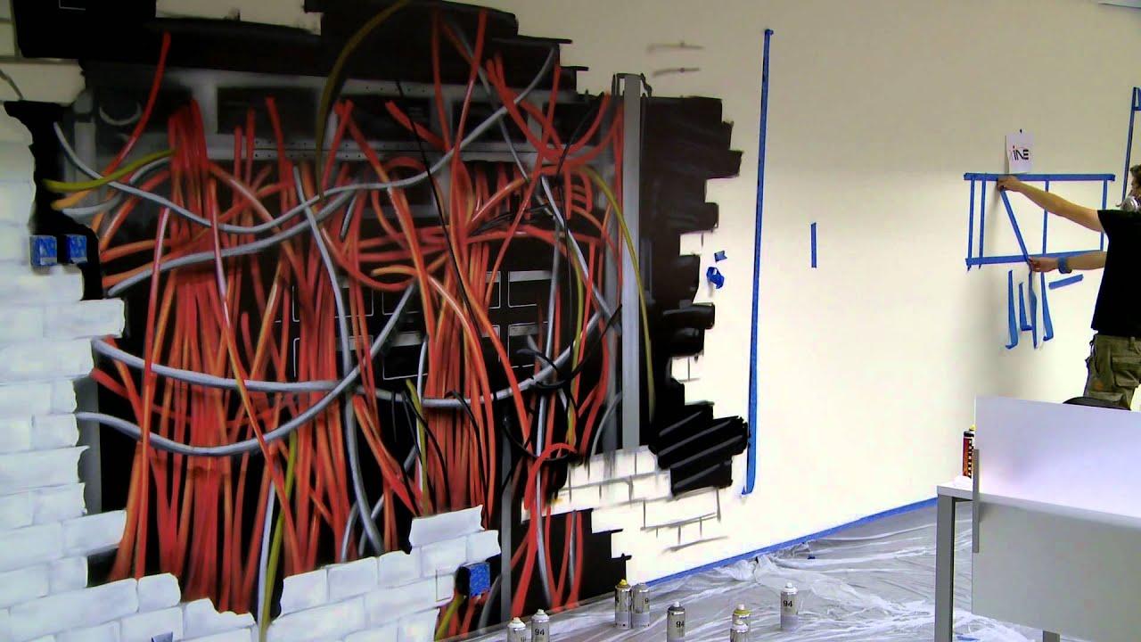 INE Wall :: Time Lapse Office Graffiti Art
