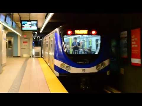 Vancouver Translink : YVR Airport Bound SkyTrain On The Canada Line @ Olympic Village Station