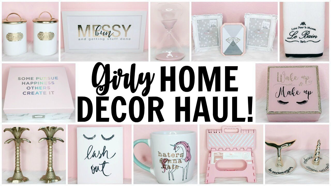 GIRLY HOME DECOR HAUL! ♡ HomeGoods, TJ Maxx, Marshalls, Hobby Lobby & Target ♡ Pink & Gold Decor