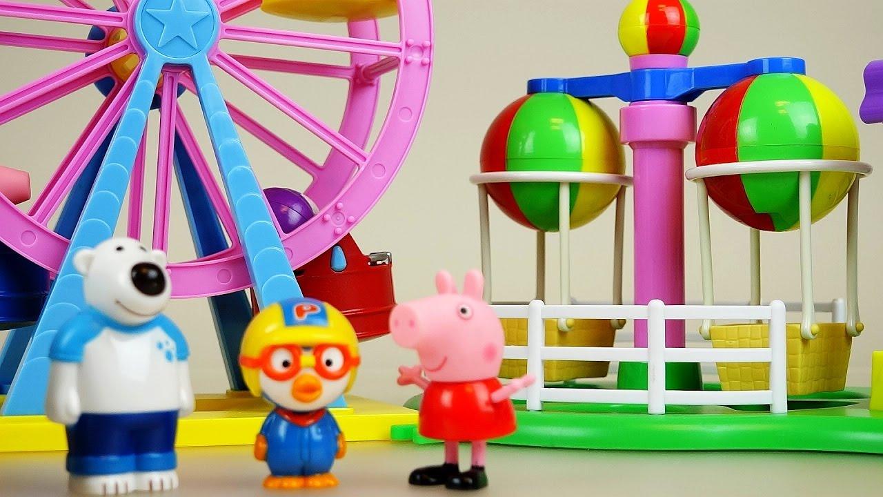 Peppa Pig Amusement park toys & Pororo kindergarten and car toys