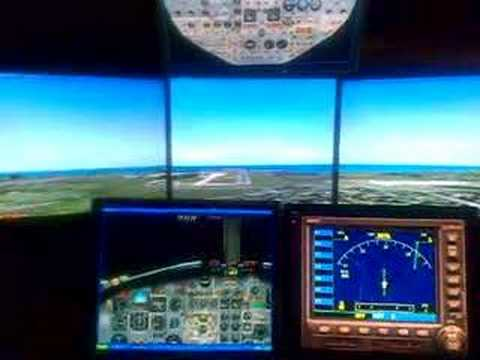 Landing the BAC 1-11 at Jersey in FS2004 with 7 screens